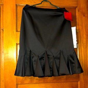 Retro black silk-look skirt with flounced hem NWT
